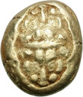 Ancients:Greek, Ancients: Ionia. Miletos. c. 600-550 BC. EL Stater, 14.20g. Obv:Two lions' heads back to back, seen from above. Rx: Long irregularre...