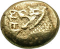 Ancients:Greek, Ancients: Kingdom of Lydia. Alyattes. EL Trite, 4.72g, c. 600-580 BC. Obv: Two confronted heads of lions (the left one off flan); betw...