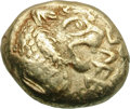 Ancients:Greek, Ancients: Kingdom of Lydia. Alyattes. EL Trite, 4.66g, c. 600-580BC. Obv: Two confronted heads of lions (the right one off flan);bet...