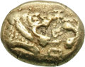 Ancients:Greek, Ancients: Kingdom of Lydia. Alyattes. EL 1/6 Stater, 2.35g, c.600-580 BC. Obv: Two confronted heads of lions (the right onepartially...