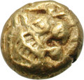 Ancients:Greek, Ancients: Kingdom of Lydia. Alyattes. EL Hemihecte, 1.18g, c. 600-580 BC. Obv: Two confronted heads of lions (the right one off flan);...