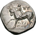 Ancients:Greek, Ancients: Calabria. Tarentum. c. 275-240 BC. Didrachm or Nomos,6.38g (9h). Obv: Naked boy-rider crowning his horse facing left. Inri...