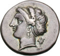 Ancients:Greek, Ancients: Campania. Neapolis. c. 275-250 BC. Didrachm, 7.31g (12h).Obv: Head of Parthenope left with archaic figure of Pallas Athena...