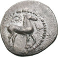 Ancients:Greek, Ancients: Sicily. Gela. c. 465-450 BC. Litra, 0.73g (11h). Obv:CELA Forepart of man-headed bull right. Rx: Horse standing right,with...