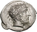 Ancients:Greek, Ancients: Sicily. Naxos. c. 415 BC. Tetradrachm, 16.74g (9h). Obv: Head of Dionysus right, wearing taenia decorated with ivy-tendrils,...