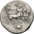Ancients:Greek, Ancients: Sicily. Akragas. c. 410-406 BC. Tetradrachm, 17.44g (8h). Obv: Quadriga galloping to right, the female charioteer crowned by...