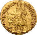 Ancients:Oriental, Ancients: Kushan India. Kanishka. 127/8-152 AD. Gold Dinar, 7.97g (12h). Mint A. Obv: Kanishka standing left, wearing domed crown, hol...