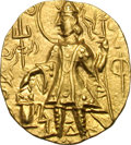 Ancients:Oriental, Ancients: Kushan India. Vasiska. 350-360 AD. Dinar, 7.92g (12h). Obv: Nimbate king standing left, holding trident, Φ in right field. R...