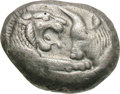 Ancients:Greek, Ancients: Kingdom of Lydia. Croesus. 555/4-541/0 BC. Stater, 10.52g. Sardes mint. Obv: Confronted foreparts of lion facing right and b...