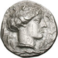 Ancients:Greek, Ancients: Bruttium. Terina. c. 425-420 BC. Stater, 7.36g (3h). Obv:Head of nymph Terina right. Rx: Nike seated left. Regling 35.Holl...