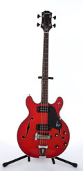 Musical Instruments:Bass Guitars, 1970s Epiphone EA-260 Red Semi-Hollow Body Electric Bass Guitar #026525....