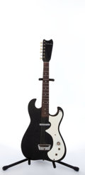 Musical Instruments:Drums & Percussion, 1960s Silvertone 1448 Black Electric Guitar With Amp Case # N/A....