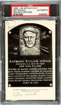 Baseball Collectibles:Others, 1956-63 Ray Schalk Hall of Fame Plaque Postcard....