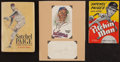 Baseball Collectibles:Publications, Satchel Paige Signed Index Card and Two Unsigned Books Lot....