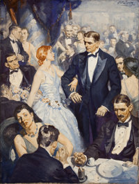 EDMUND FRANKLIN WARD (American, 1892-1991) At the Ball Oil on canvas 40 x 30 in. Signed upper