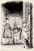 Mainstream Illustration, GARTH WILLIAMS (American, 1912-1996). The Cricket in TimesSquare, The Corner of the Times Square Building, page 31illust...