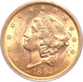 Liberty Double Eagles, 1864 $20 MS62 PCGS. CAC....