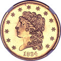 Classic Quarter Eagles, 1834 $2 1/2 MS66 Prooflike NGC. Breen-6138, Variety 1, Small Head, R.1....