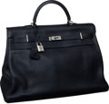 "Luxury Accessories:Travel/Trunks, Hermes 50cm Black Fjord Leather Travel Kelly Bag with Palladium Hardware, 20"" x 13"" x 9"", Excellent Condition. ..."