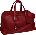 """Luxury Accessories:Travel/Trunks, Hermes Rouge H Clemence Leather GM Victoria II Bag with GoldHardware, 17"""" x 10"""" x 8"""", Excellent Condition. ..."""