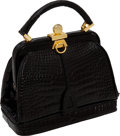 "Luxury Accessories:Bags, Lana Marks Shiny Black Alligator Small Tote Bag, 7.5"" x 5.5"" x 4"",Excellent Condition. ..."