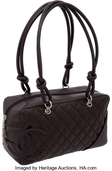 3e87eeaf0c ... Luxury Accessories:Bags, Chanel Ligne Cambon Chocolate Lambskin Leather  & Patent CCBowler Bag ...