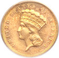 Three Dollar Gold Pieces, 1881 $3 MS63 PCGS....