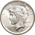 Peace Dollars, 1927-D $1 MS66 PCGS. CAC....