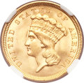 Three Dollar Gold Pieces, 1854 $3 MS64 NGC. CAC....