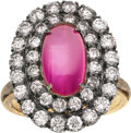 Estate Jewelry:Rings, Burma Star Ruby, Diamond, Silver-Topped Gold Ring. ...