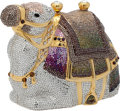 "Luxury Accessories:Bags, Judith Leiber Full Bead Silver, Purple, Gray, and Green Arabian Karma Camel Minaudiere, 5"" x 4.5"" x 3"", Pristine Condition. ..."