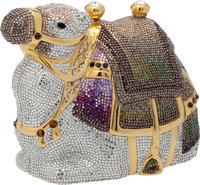 "Judith Leiber Full Bead Silver, Purple, Gray, and Green Arabian Karma Camel Minaudiere, 5"" x 4.5"" x 3"", P..."