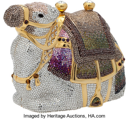 "Judith Leiber Full Bead Silver, Purple, Gray, and Green Arabian Karma Camel Minaudiere, 5"" x 4.5"" x 3"", Pristine Condition ..."