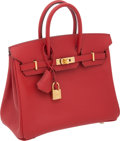 "Luxury Accessories:Bags, Hermes 25cm Rouge Vif Epsom Leather Birkin Bag with Gold Hardware,10"" x 7.5"" x 5"", Pristine Condition. ..."
