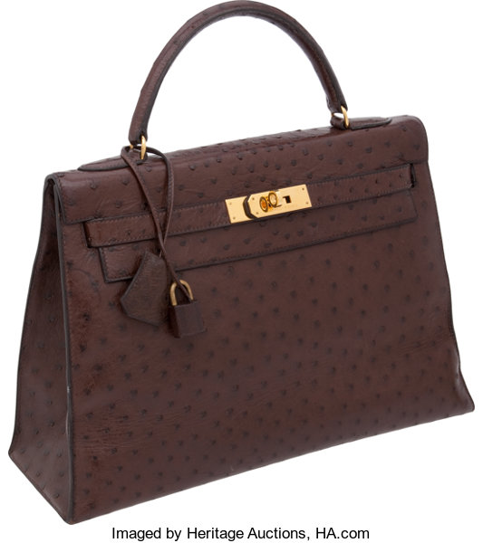 ... Luxury Accessories Bags, Hermes 32cm Marron Fonce Ostrich Rigid Kelly  Bag with GoldHardware, ... eac75efeaa3