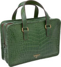 "Luxury Accessories:Bags, Prada Shiny Emerald Green Alligator Double Zipper Classic Tote, 12""x 8.5"" x 3.5"", Excellent Condition. ..."
