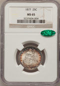 Seated Quarters, 1877 25C MS65 NGC. CAC....