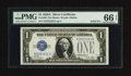 Small Size:Silver Certificates, Solid Serial Number Two Fr. 1601 $1 1928A Silver Certificate. PMG Gem Uncirculated 66 EPQ.. ...