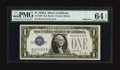Small Size:Silver Certificates, Solid Serial Number One Fr. 1601 $1 1928A Silver Certificate. PMG Choice Uncirculated 64 EPQ.. ...