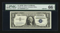 Small Size:Silver Certificates, Solid Serial Number 66666666 Fr. 1621 $1 1957B Silver Certificate. PMG Gem Uncirculated 66 EPQ.. ...