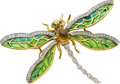 Estate Jewelry:Brooches - Pins, Diamond, Emerald, Citrine, Enamel, Gold Brooch. ...