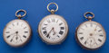 Timepieces:Pocket (pre 1900) , Three European Key Winds Pocket Watches - Two In Sterling Cases.... (Total: 3 Items)