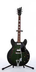 Musical Instruments:Electric Guitars, 1970's Univox Custom Green Burst Archtop Electric Guitar#2147417...
