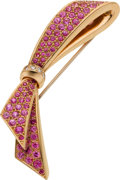 Estate Jewelry:Brooches - Pins, Pink Sapphire, Diamond, Pink Gold Brooch, Van Cleef & Arpels. ...