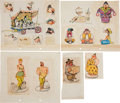 Animation Art:Production Drawing, F. H. Horvath Character Concept Drawing Animation Art Group(Disney, circa 1930s).... (Total: 5 Items)