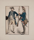 Antiques:Posters & Prints, Two Hand-Colored Period Costume Prints. [Germany: ca. 1880]. Lightedge wear with some chipping and soiling. Small tape repa...(Total: 2 Items)