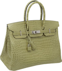"Hermes 35cm Shiny Vert Anis Porosus Crocodile Birkin Bag with Palladium Hardware, 14"" x 11"" x 7"", Pristin..."