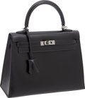 "Luxury Accessories:Bags, Hermes 25cm Black Box Leather Rigid Kelly with Ruthenium Hardware,10"" x 7"" x 4"", Excellent Condition. ..."