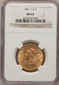Liberty Eagles: , 1881-S $10 MS62 NGC. NGC Census: (457/27). PCGS Population(323/34). Mintage: 970,000. Numismedia Wsl. Price for problem fr...