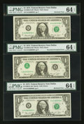 Error Notes:Inverted Third Printings, Fr. 1908-K $1 1974 Federal Reserve Notes. Three ConsecutiveExamples. PMG Choice Uncirculated 64 EPQ.. ... (Total: 3 notes)